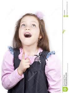 Little Girl Looking Up Mouth Open