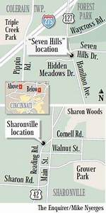 Map Shows Location Of Sharonville And Seven Hills Bmv