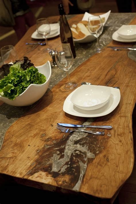 concrete  wood dining table diy