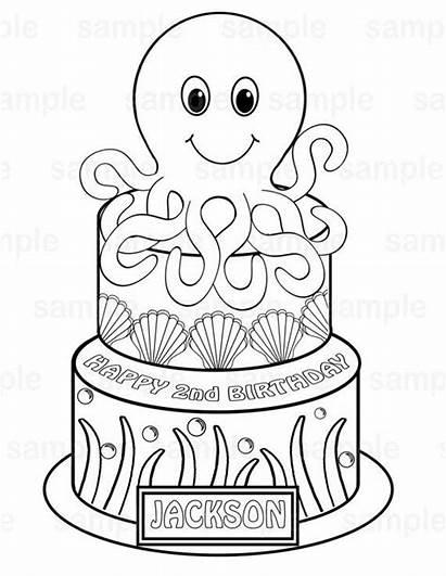 Printable Coloring Under Sea Octopus Cake Birthday