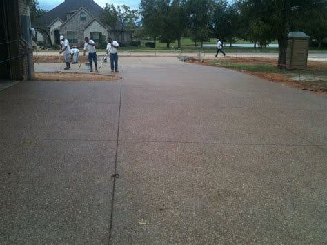 exposed aggregate driveway pecan plantation with acid