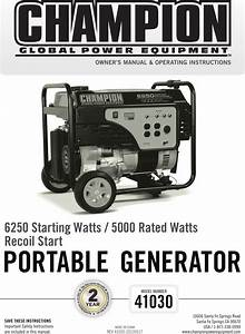 Champion Power Equipment 41030 Owners Manual 41030 Manual