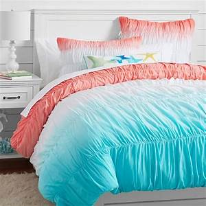 surf dip dye ruched duvet cover sham pbteen With bed covers for teenage girl