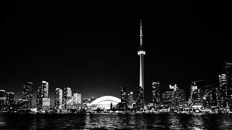 mt toronto city night missing tower dark cityview bw