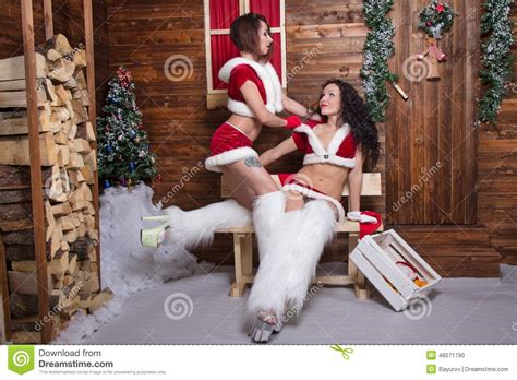 Santa Claus With Maiden In Bright Clothes Stock Beautiful Maiden Stock Photo Image