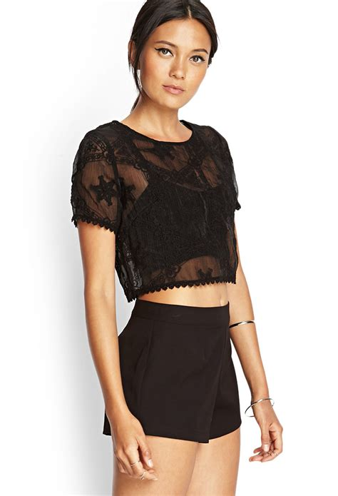crop blouse forever 21 sheer embroidered crop top in black lyst