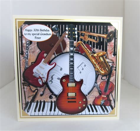 musical instruments birthday card xinch