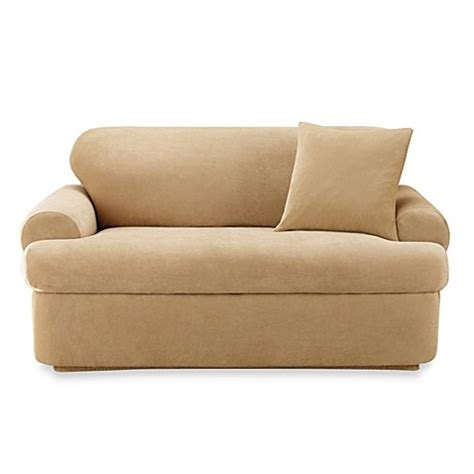 2 piece t cushion sofa slipcover sure fit stretch pique 2 piece t cushion sofa slipcover