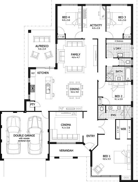 Spectacular Bedroom Floor Plan Layout by 4 Bedroom House Plans Home Designs Celebration Homes