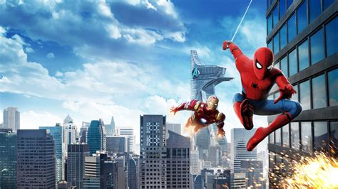 wallpaper spider man homecoming iron man hd movies