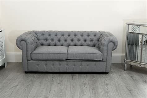 Chesterfield Fabric Sofa by Chesterfield Sofa Suite 3 2 And 1 Seater In Grey Linen