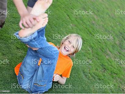 Boy Tickled Being Blond Boys Hair Laughing