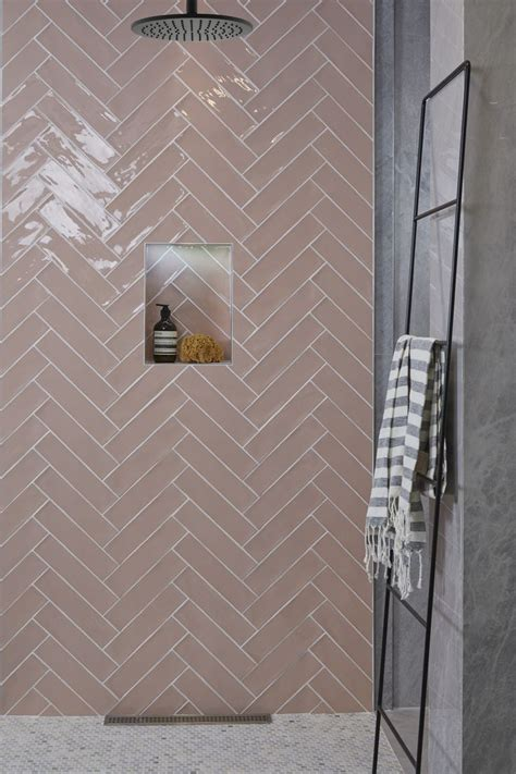 ca pietra carter pink blush tiles laid   herringbone