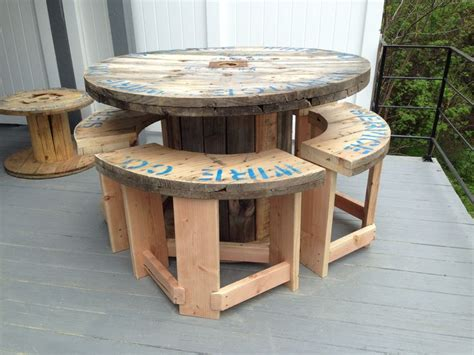 5 wire spool i made into a bar height patio table with 4