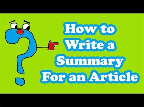 Article Writing  How To Write A Summary For An Article Youtube