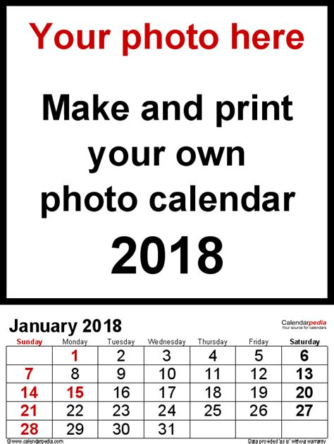 photo calendar printable excel templates