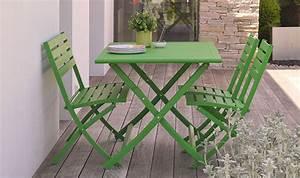 Salon De Jardin Pliant : salon de jardin en aluminium vert 4 places pliant et ~ Teatrodelosmanantiales.com Idées de Décoration