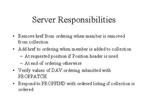 Server Responsibilities by Server Responsibilities