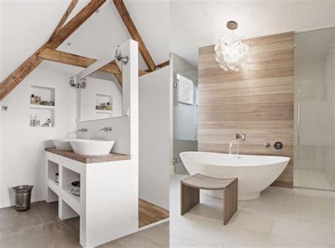 une salle de bains en blanc et bois deco deco design et place