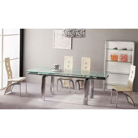 atlanta large extending frosted dining table and 6 chairs