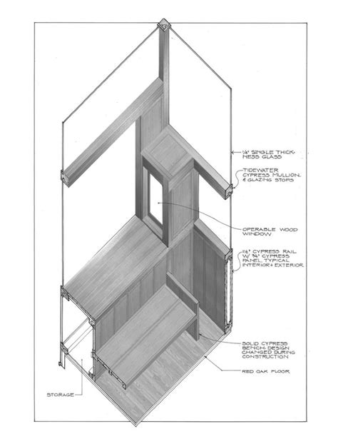 Kahn's Fisher House–Furniture rooted & attached like