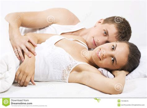couples in bed in a bed royalty free stock photo image