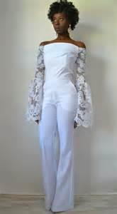 white jumpsuit for wedding design the shoulder bridal jumpsuit