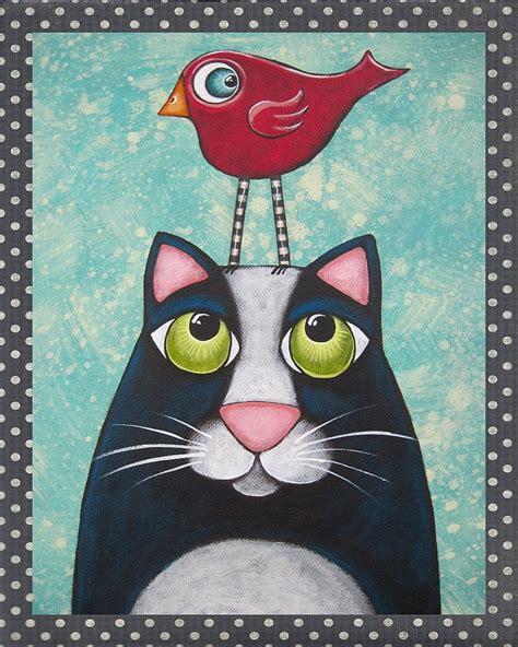 Folk Art Cat Bird Print Of Original Painting By By
