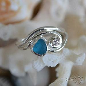 Sea glass engagement rings made by meg jewelry for Sea glass wedding rings