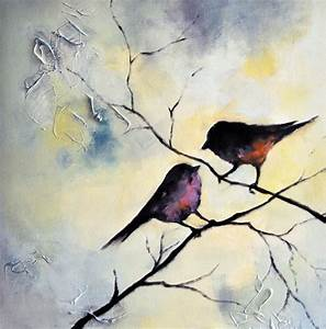 Birds on a branch Original Abstract Painting Bird Couple