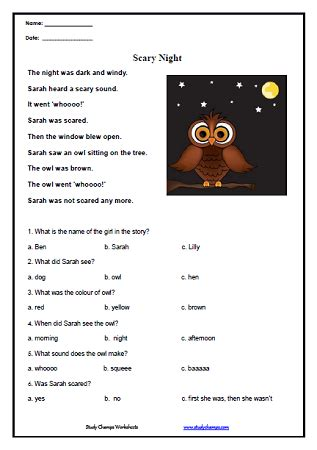 reading comprehension worksheets  kindergarten students