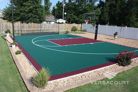 backyard court versacourt indoor outdoor backyard basketball courts