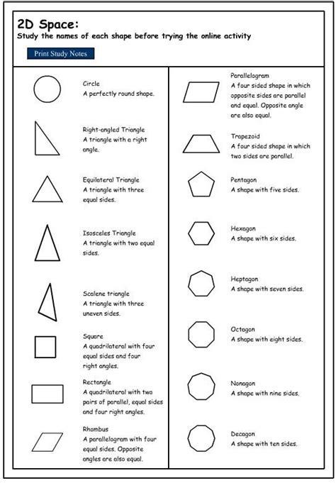 shapes properties shapes worksheets math methods