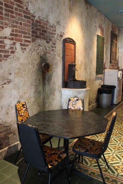 restaurant distressed walls  traditional cement floor