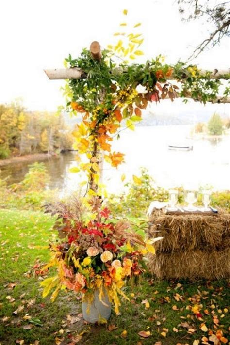 46 outdoor fall wedding arches happywedd