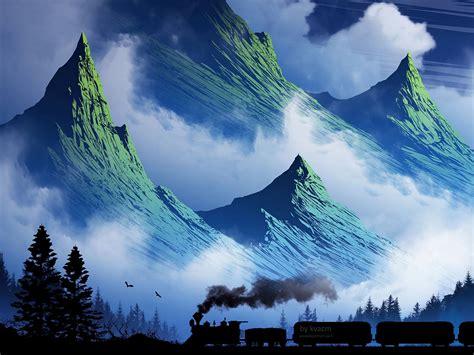 Download wallpaper 1600x1200 train, mountains, art, fog ...