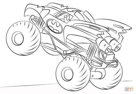Batman Monster Truck Coloring Page Free Printable