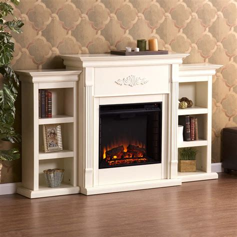 fireplace bookshelf antique white electric fireplace portablefireplace