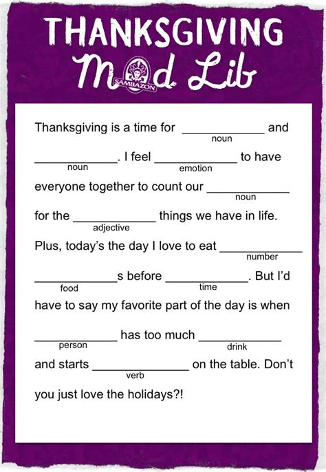 because mad libs are awesome kids and learning thanksgiving mad lib thanksgiving mad libs