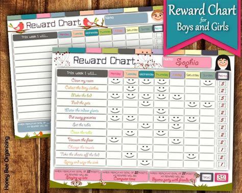 printable reward chart  girls  boys