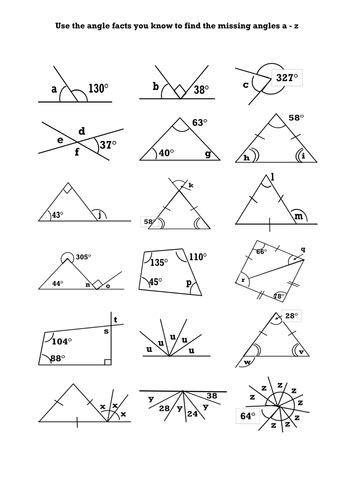 finding missing angles in quadrilaterals worksheet tes