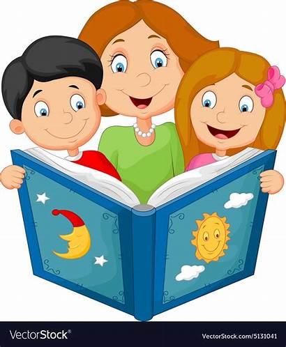 Reading Cartoon Children Mother Vector Vectors