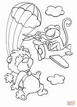 Coloring Sky Skydiving Lion Monkey Pages Plane Disorderly While Brave Tries Intervene Drawing Dot Printable Paper sketch template