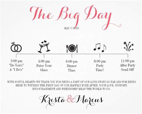 wedding itinerary template   word  documents