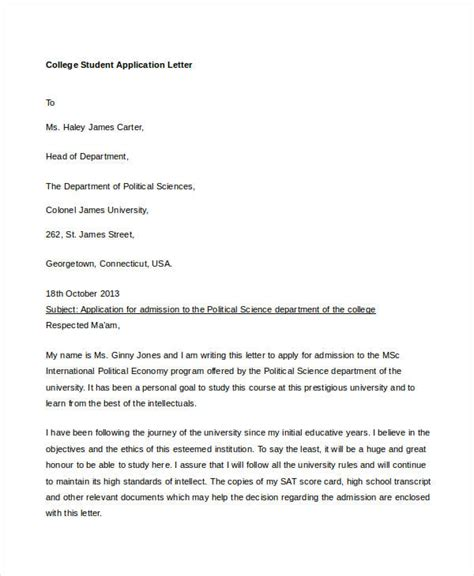 college application letter templates   word  format   premium templates