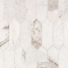 Bianco Orion Picket Marble Mosaic   12 x 15   100464817