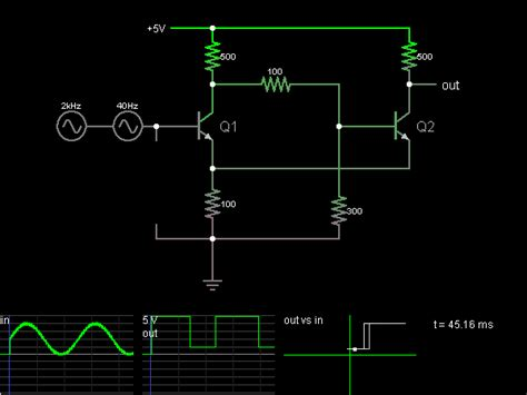 Schmitt Trigger With Transistors Circuit Simulator