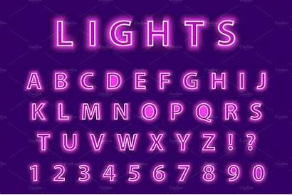 Neon Purple Letters Pink Background Led Alphabet
