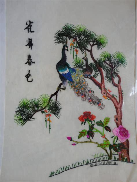 figuras chinas bordadas cuadros bordados chinos serie  bs  en mercado libre