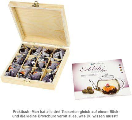 Erblühtee in edler Holzbox mit Gravur  Schwarztee mit 12